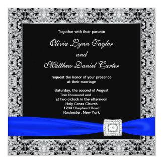 Kungligt bröllop för snöre för blåttsvartsilver fyrkantigt 13,3 cm inbjudningskort