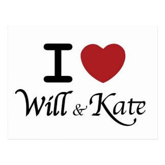 Kungligt bröllop mig ska hjärta & Kate vykort