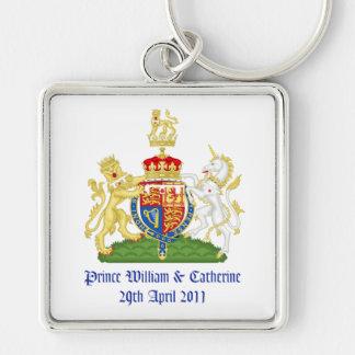 Kungligt bröllop fyrkantig silverfärgad nyckelring