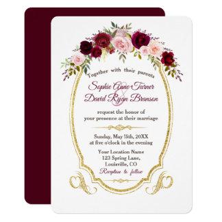 Kungligt Burgundy Marsala blom- nedgångbröllop 12,7 X 17,8 Cm Inbjudningskort