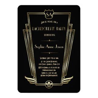 Kungligt guld- art décoMonogramBachelorette party 12,7 X 17,8 Cm Inbjudningskort