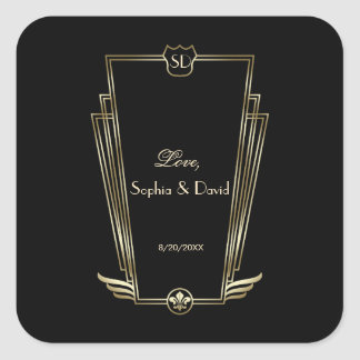 Kungligt guld- art décoMonogrambröllop Fyrkantigt Klistermärke