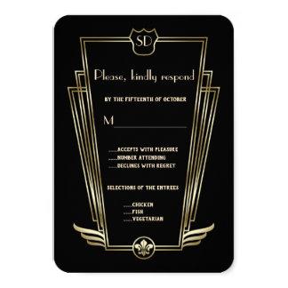 Kungligt guld- art décoMonogrambröllop OSA 8,9 X 12,7 Cm Inbjudningskort