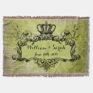 Kungligt kronakast för grön damastast personligt filt