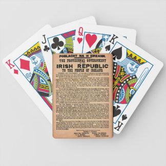 Kungörelse 1916 av den Irland cykeln som leker Spelkort