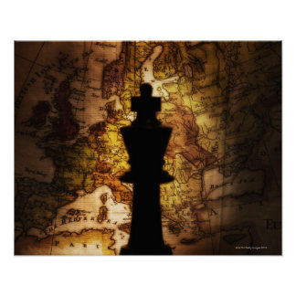 Kungschackbiet på karta för gammal värld affisch