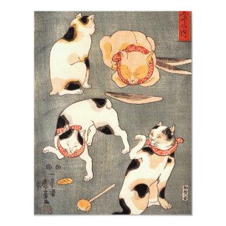 Kuniyoshi fyra kattinbjudningar 10,8 x 14 cm inbjudningskort