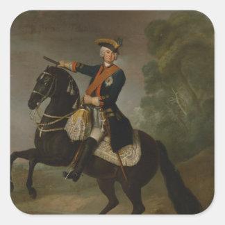Kurt Christoph Graf von Schwerin på hästrygg Fyrkantigt Klistermärke