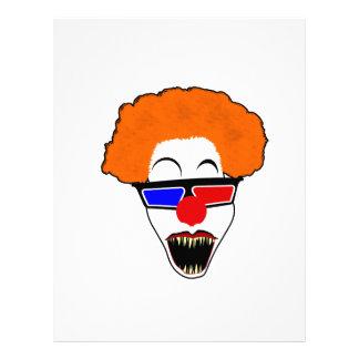 Kuslig clown i röda exponeringsglas för blått 3D Brevhuvud