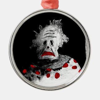 Kuslig clown rund silverfärgad julgransprydnad