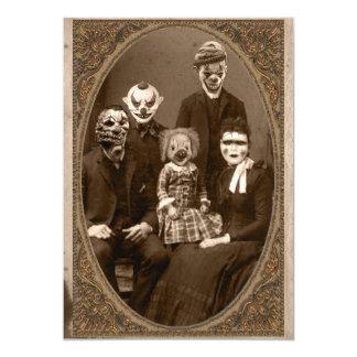 Kuslig clownfamiljhalloween fest 12,7 x 17,8 cm inbjudningskort