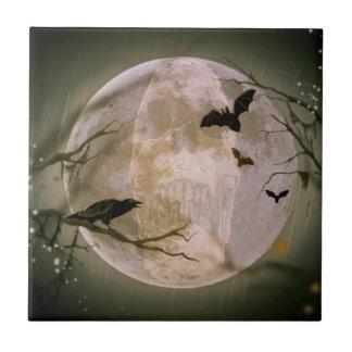 Kuslig fullmåne med fåglar liten kakelplatta