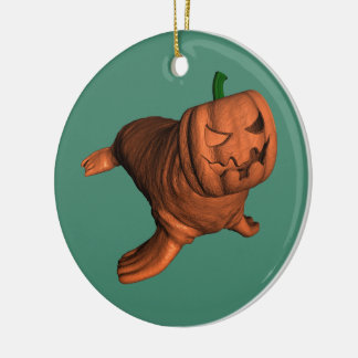 Kuslig orange Halloween valross Julgransprydnad Keramik