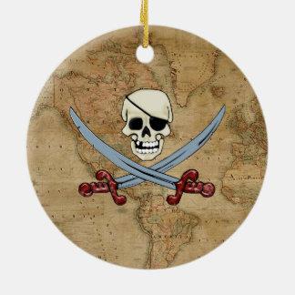 Kuslig piratskalle & korsade Cutlasses Julgransprydnad Keramik