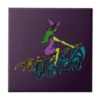Kuslig & skämtsam Witchy häxa Liten Kakelplatta