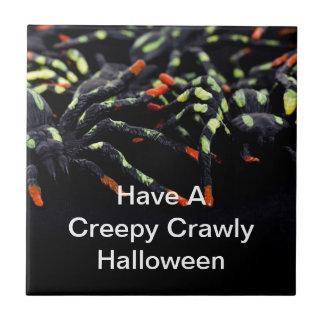 Kusliga Crawly Halloween spindlar Liten Kakelplatta