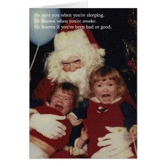 Kusliga Santa julkort Hälsningskort