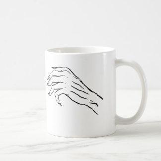Kusligt räcka vs sexigt lägger benen på ryggen kaffemugg