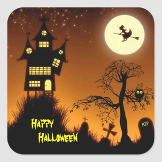 Kusligt spökat hus dekorativa Halloween Fyrkantigt Klistermärke