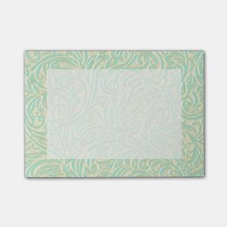 Kust- fransk Scrollwork för Mintgröntvintage Post-it Block