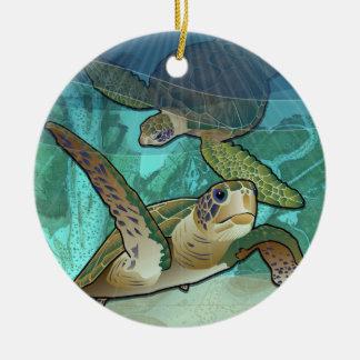 Kust- havssköldpaddor av Atlanten Julgransprydnad Keramik