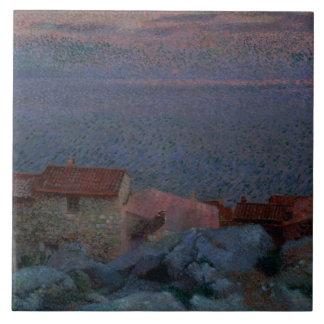 Kust- landskap (olja på kanfas) kakelplatta