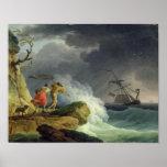 Kust- plats i en storm, 1782 print