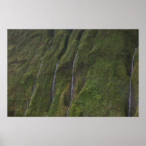 kusten kauai hawaii för vattenfallna-pali affisch
