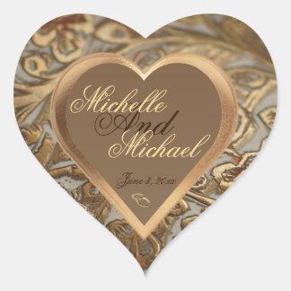 Kuvertet för anpassademinnessakbröllop förseglar hjärtformat klistermärke
