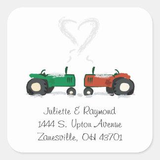 Kuvertet för lantgårdtraktorbröllop förseglar fyrkantigt klistermärke