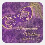 Kuvertet för maskeradbollMardi Gras bröllop Fyrkantiga Klistermärken