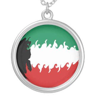 Kuwait Gnarly flagga Halsband Med Rund Hängsmycke