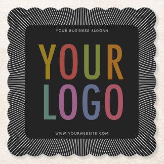 Kvadrera den langetterade logotypen för företaget underlägg papper