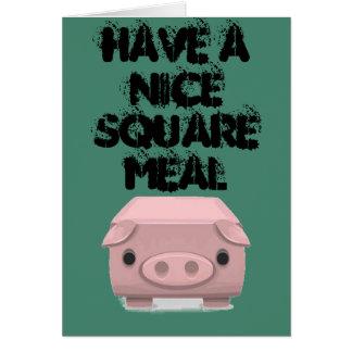 Kvadrera den roliga vitsen för grisen hälsningskort