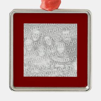 Kvadrera det rödbruna gränsfotoet julgransprydnad metall