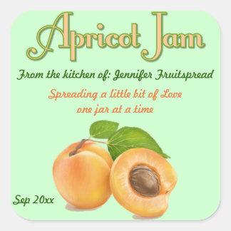Kvadrera etiketten den på burk för aprikossyltmat fyrkantigt klistermärke