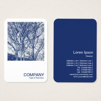Kvadrera fotoet 0591 - träd i vinter - Cyanotype Visitkort