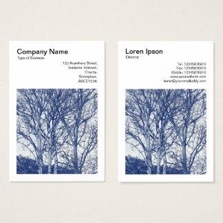 Kvadrera fotoet (v3) - träd i vinter - Cyanotype Visitkort