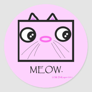 Kvadrera katten som ansikte jamar rund klistermärke