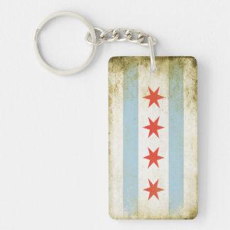 Kvadrera Keychain med det bekymrade Chicago flagga Nyckelring