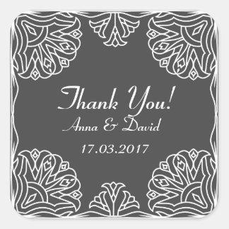 Kvadrera klistermärken tackar dig (bröllop)