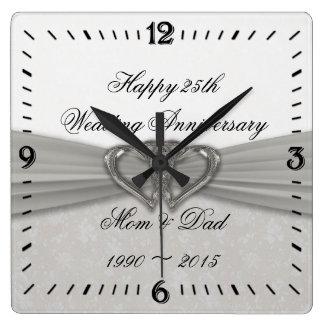 Kvadrerar den 25th bröllopsdagen för damast väggen fyrkantig klocka