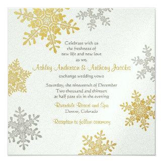 Kvadrerar den guld- snowflaken för silver fyrkantigt 13,3 cm inbjudningskort