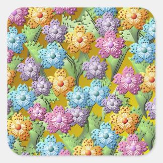 kvadrerar den pappra blomsterträdgården 3D Fyrkantigt Klistermärke