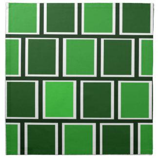 Kvadrerar grönt modernt geometriskt för skog mönst tygservett