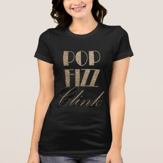 Kvällguld för nytt år och svart popFizzfinka Tee Shirts
