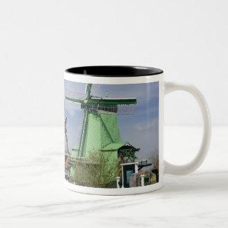 Kvarn Zaanse Schans, Holland, Nederländerna 2 Två-Tonad Mugg