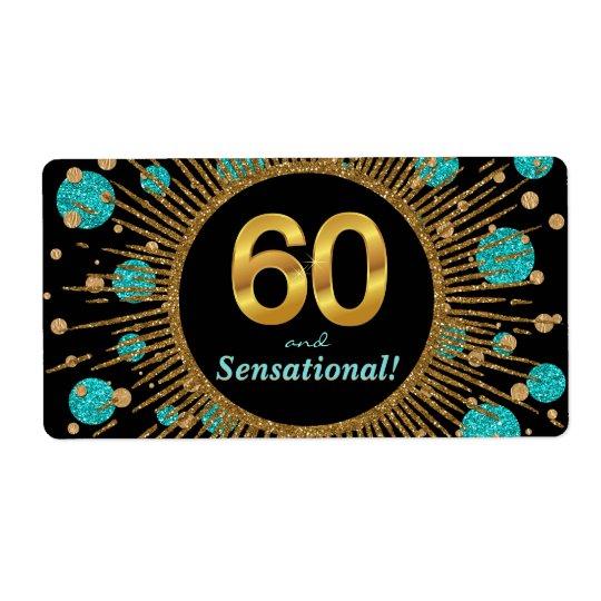 Kvinna 60th etiketter för fraktsedel