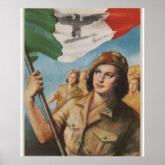 Kvinna affisch för propaganda för hjälpare