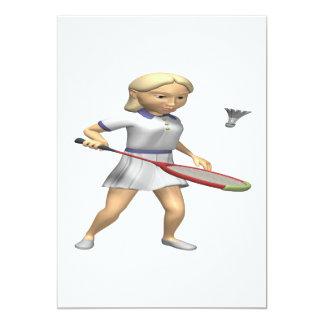Kvinna Badminton 12,7 X 17,8 Cm Inbjudningskort